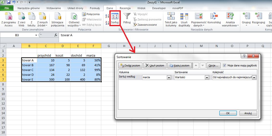 Efektywny Excel Zmiana Kolejności Kolumn Opcjapl
